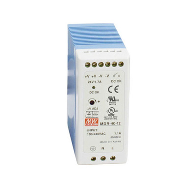 Black Box DIN Rail Power Supply, 40 Watts, 12 VDC Power supply unit - Blauw,Wit
