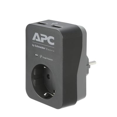 APC PME1WU2B-GR Tussenstekker met overspanningsbeveiliging 3680W 1x stopcontact + 2x USB lader Surge protector - .....