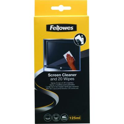 Fellowes reinigingskit: Schermreinigingsspray 125ml met 20 absorberende doekjes - Multi kleuren
