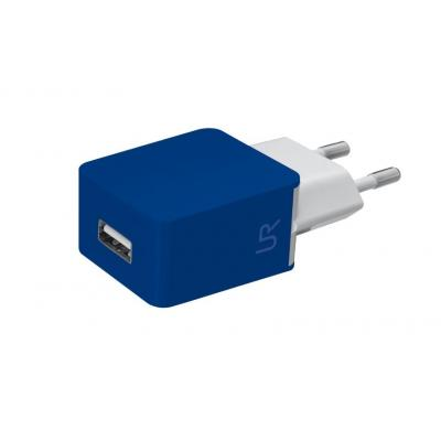 Urban revolt oplader: Universal USB charger to charge your iPhone or smartphone at home or office, Blue - Blauw