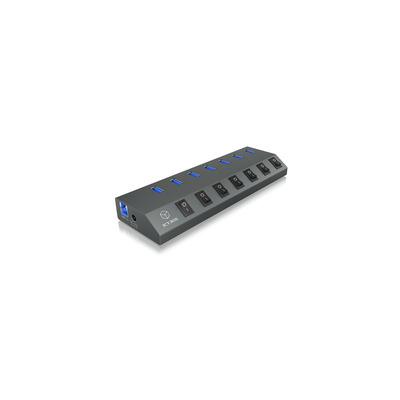 ICY BOX IB-HUB1701-U3 Hub - Antraciet