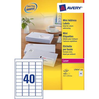 Avery 45.7 x 25.4 mm, 4000 pcs, wit Etiket