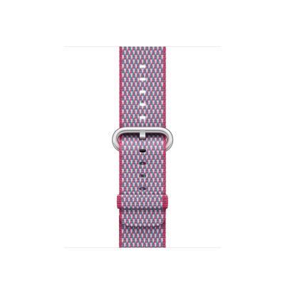 Apple : Bandje van geweven nylon - Bessenrood (geruit, 38 mm) - Roze, Paars