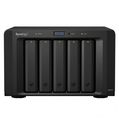 "Synology SAN: 5x 2.5/3.5"" SATA HDD/SSD, eSATA, 21.5 dB, 100-240 V, 50/60 Hz, 200 W, 157 x 248 x 233 mm, 3910 g - Zwart"