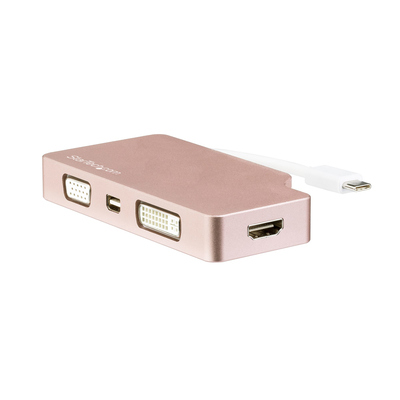 StarTech.com USB-C 4-in-1 video adapter rose gold goud USB-C naar VGA, DVI, HDMI of mDP multiport adapter .....