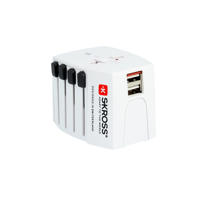 Skross netvoeding: World Adapter MUV USB - Wit