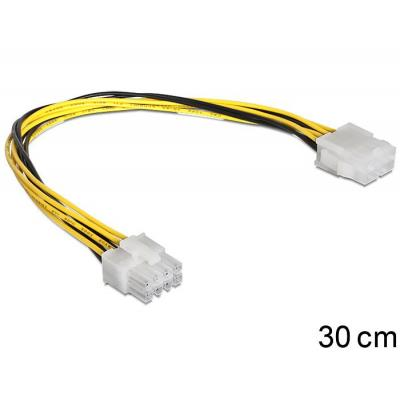 Delock : Cable Power 8 pin EPS Extension male > female - Zwart, Geel