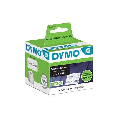 DYMO LW - Shipping / Name Badge Labels - 54 x 101 mm - S0722430 Etiket - Wit