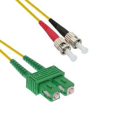EECONN Glasvezel Patchkabel, 9/125 (OS1), SC/APC - ST, Duplex, 15m Fiber optic kabel - Geel
