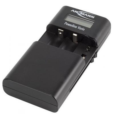 Ansmann oplader: Univesal charger, 3.6-7.4V, LCD, black - Zwart