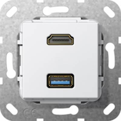 """GIRA Basiselement HDMI """"High Speed with Ethernet"""" en USB 3.0 Type A Verloopkabel, zuiver wit glanzend ....."""
