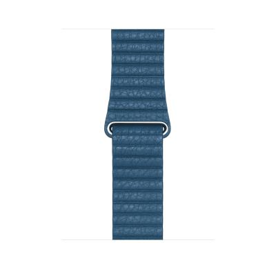 Apple : Leren bandje - Cape Cod-blauw (44 mm) - Large