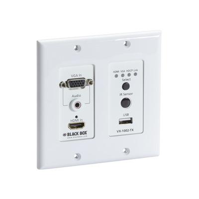 Black Box VX1000 Series Extender Wallplate Transmitter - 4K, HDMI, VGA, CATx, USB AV extender - Wit