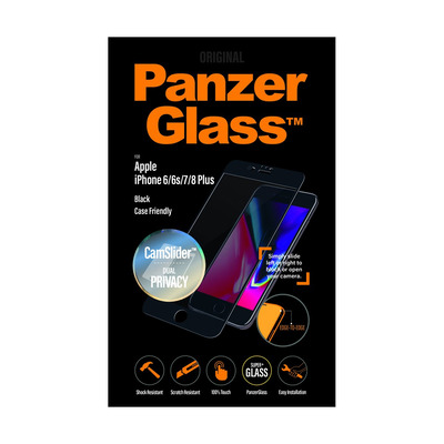 PanzerGlass Apple iPhone 6/6s/7/8 Plus Edge-to-Edge Privacy Camslider Screen protector - Transparant