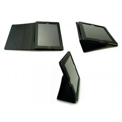 Sandberg tablet case: Cover stand iPad 2/3 Leather - Zwart