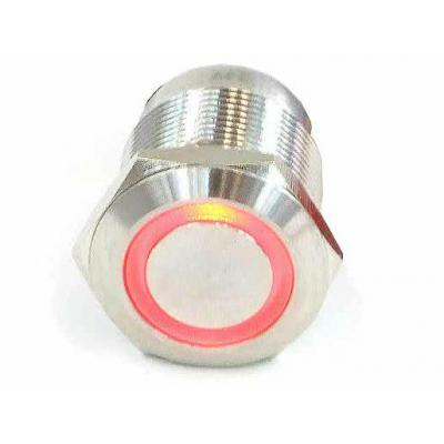 Phobya Computerkast onderdeel: Push-button 19 mm stainless steel, red ring lighting, 6 pin - Roestvrijstaal