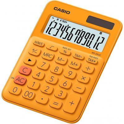 Casio 12 digits, Solar + Battery, Tax/Time calculation, 110 g Calculator - Oranje