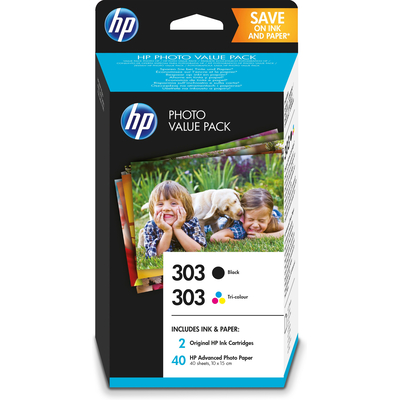 HP 303 foto value pack zwart/drie-kleuren en 40 vel 10 x 15 cm Inktcartridge - Zwart,Cyaan,Magenta,Geel