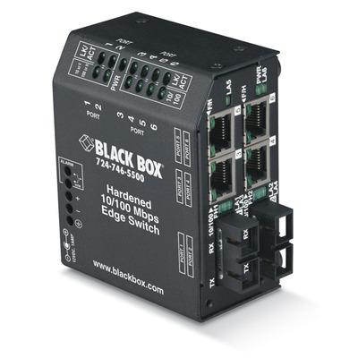 Black Box Hardened Heavy-Duty Edge, 4 x 10/100 RJ-45, 2 x SC, Single-Mode, 100–240-VAC w/ IEC Switch - Zwart