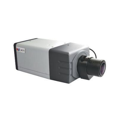 Acti beveiligingscamera: 5MP Box with D/N, Basic WDR, Vari-focal lens, f2.8-12mm/F1.4, DC iris, H.264 - Zwart, Grijs