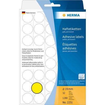 Herma etiket: Universele etiketten/Kleur punten ø 19mm geel geperforeerd 1280 St.