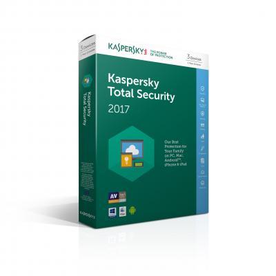 Kaspersky lab algemene utilitie: Kaspersky, Total Security 2017 Attach Slim RB (Multi-Device) (3 Devices) voor PC / .....