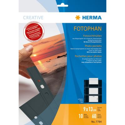 Herma showtas: Fotophan transparent photo pockets 9x13 cm landscape black 10 pcs. - Zwart, Transparant