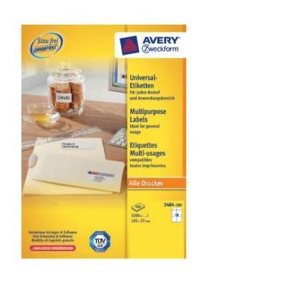 Avery etiket: Universele 3200 Etiketten, Wit, 105 x 37 mm