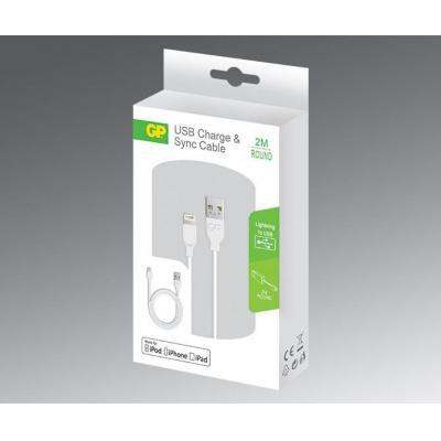Gp batteries USB kabel: 2m, Lightning/USB - Wit