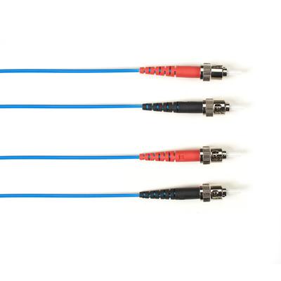 Black Box OM3 50-Micron Multimode Fiber Optic Patch Cable - OFNR PVC, ST-ST, Blue, 1-m (3.2-ft.) Fiber optic .....