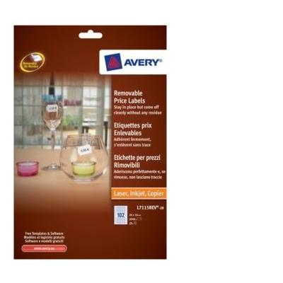 Avery Removable Price Labels Etiket - Wit