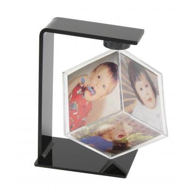 Deknudt 6x(6x6cm), kunststof, zwart Fotolijst