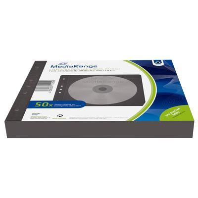 Mediarange mediadoos: Fleece sleeves for 2 discs, for standard binders and files, black, Pack 50 - Zwart
