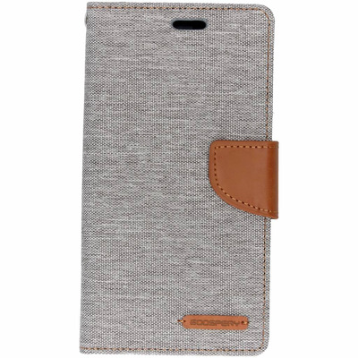 Canvas Diary Booktype iPhone Xr - Grijs / Grey Mobile phone case