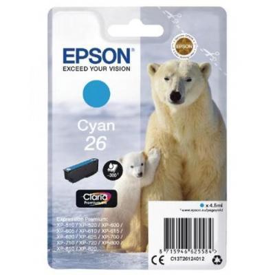 Epson inktcartridge: 26 inktcartridge cyaan standard capacity 4.5ml 300 paginas 1-pack blister zonder alarm
