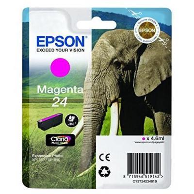 Epson inktcartridge: 24 inktcartridge magenta standard capacity 4.6ml 360 pagina s 1-pack blister zonder alarm