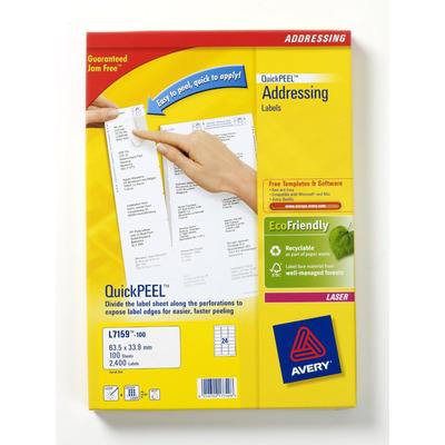 Avery QuickPEEL Adresetiketten, wit Adreslabel
