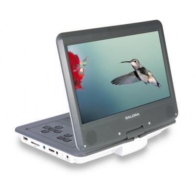 """Salora portable DVD player: Een 10,2"""" (26CM) portable DVD speler met USB/SD en auto montage set - Grijs, Wit"""