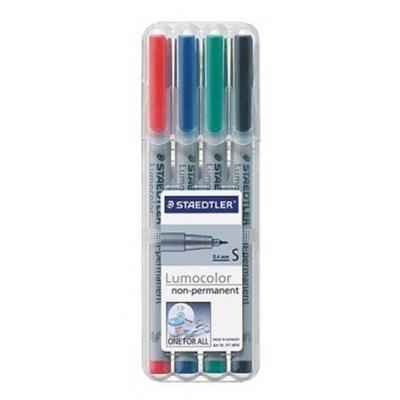 Staedtler Lumocolor Non-Permanent Universal Pen, Set of 4 Colours in Box, Line Width S - superfine ( 0.4 mm) .....