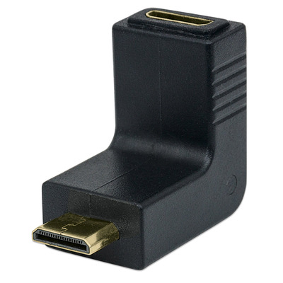 Manhattan HDMI to HDMI Mini C Adapter, 4K, Female to Male, 90° Up Angle, Polybag Kabel adapter - Zwart