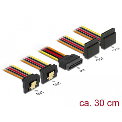 DeLOCK Cable SATA 15 pin power plug with latching function > SATA 15 pin power receptacle 2 x down / 2 x up 30 cm