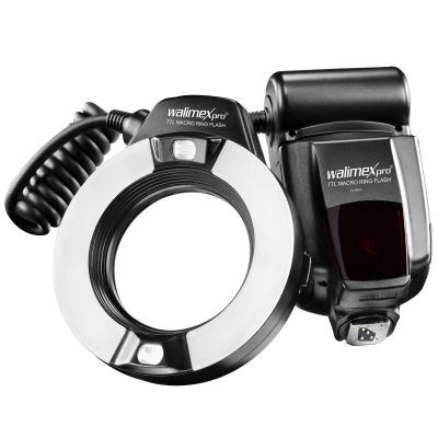 Walimex camera flitser: TTL ringflash for Nikon, 5500K, 1 - 5s, 1/1 to 1/128, 49/52/55/58/62 and 67mm rings, Black - .....