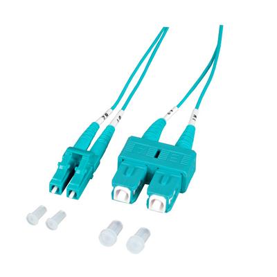 EFB Elektronik Duplex Jumper LC-SC 50/125µ, OM3, LSZH, aqua, 1.2mm, 0.5m Fiber optic kabel - Aqua-kleur