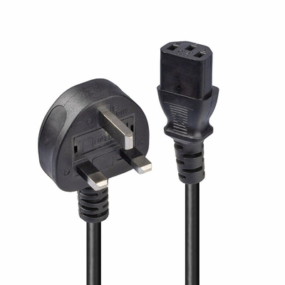 Lindy 0.2m UK 3 Pin Plug To IEC C13 Mains Power Cable, Black Electriciteitssnoer - Zwart