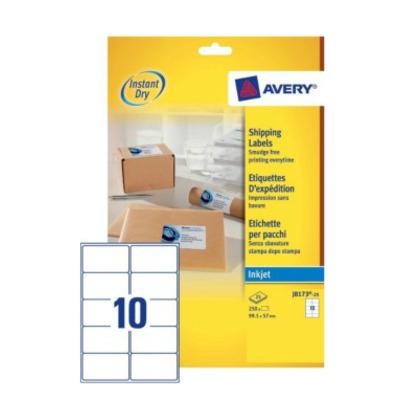 Avery A4, Inkjet, 250 etiketten, 99.1 x 57 mm Adreslabel - Wit