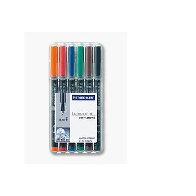 Staedtler Set of 6 colours in box, Line width F - fine ( 0.6 mm) Marker - Zwart, Transparant