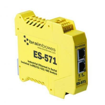 Brainboxes Isolated Industrial Ethernet to Serial 1xRS232/422/485 + Ethernet Switch Netwerkkaart - Geel
