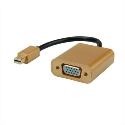 ROLINE GOLD Mini DisplayPort-VGA Adapter, v1.2, Mini DP M - VGA F - Zwart, Goud