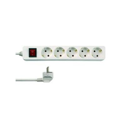 REV Multiple socket outlet, 5-fold, with switch, 3 m, white Surge protector