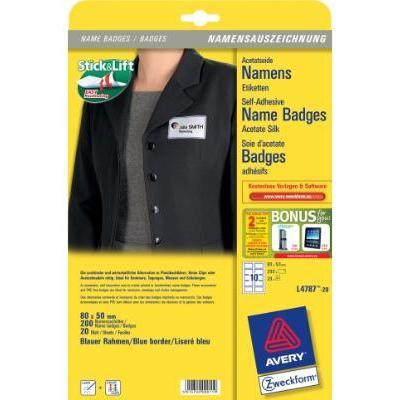 Avery BADGE AV L4787-20 80X50 KADER Etiket - Wit